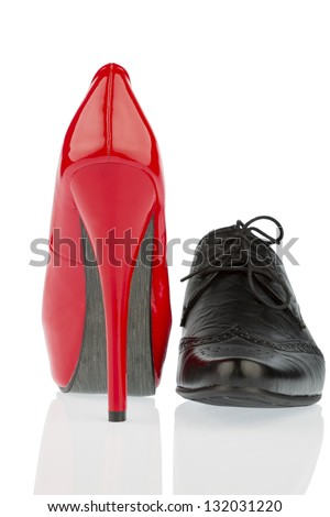 ladies shoes and men's shoes, symbolic photo for partnership and equality - stock photo