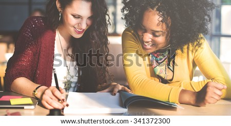 Ladies Women Working Together Project Concept - stock photo