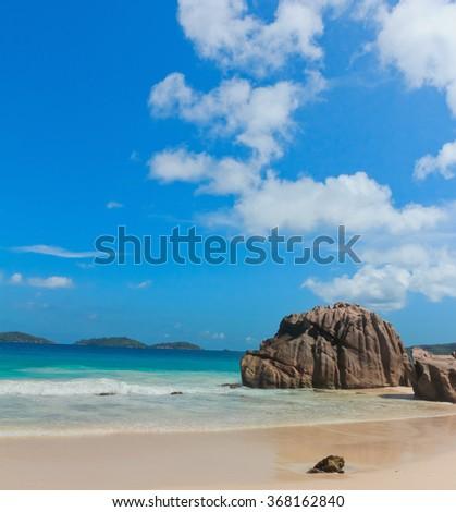 LaDigue Stones Rocky Beach  - stock photo