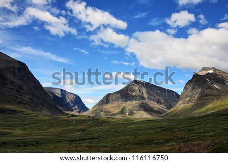 Ladtjovagge, the valley south of the highest mountain in Sweden - stock photo