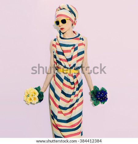 Lady African Style. Trend strip. Fashion Summer Accessory and Flowers.