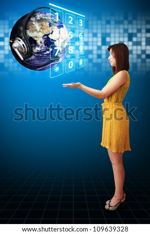 Lady and Communication world : Elements of this image furnished by NASA - stock photo