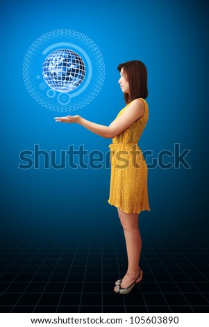 Lady and digital world : Elements of this image furnished by NASA