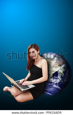 Lady and world beside : Elements of this image furnished by NASA - stock photo
