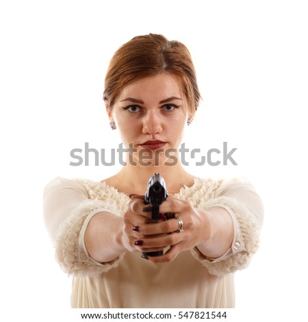 Lady armed with a gun