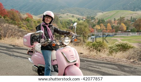 lady biker in the foothills of mt. diablo, california - stock photo