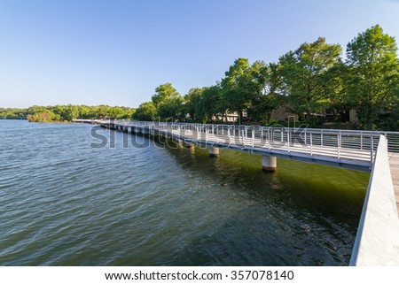 Lady Bird Lake, which is actually the Colorado River, boardwalk with a sharp turn