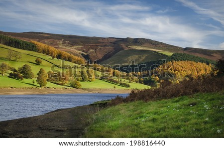 Lady bower reservoir in the Peak district in North West England - stock photo