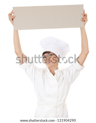 lady cook showing empty sign above head, white background - stock photo