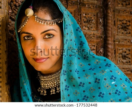 Lady dressed in Rajasthan  traditional dress - stock photo