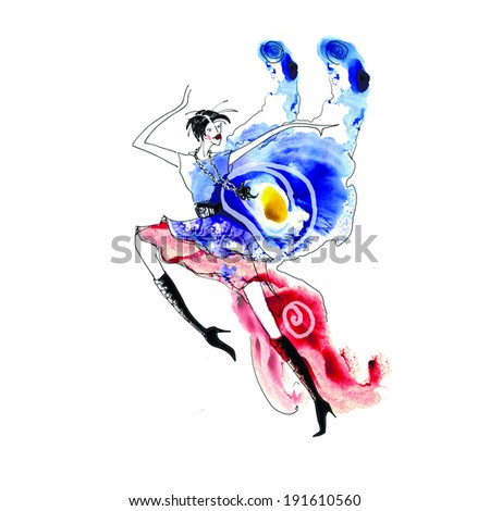 Lady elf butterfly choleric - stock photo