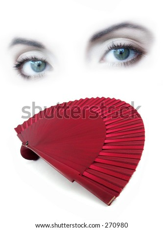 lady eyes and red open fan - stock photo
