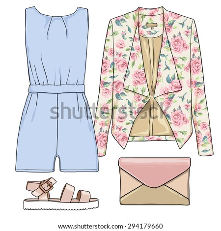 Lady fashion set of summer outfit. Illustration stylish and trendy clothing. Jumpsuit, shorts, jacket, clutch, bag, sandals.  - stock photo