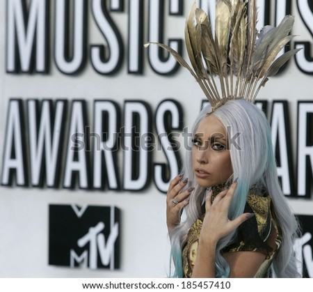 Lady GaGa at 2010 MTV Video Music Awards VMA's - ARRIVALS - NO US PRINT USAGE UNTIL 9/16/2010, Nokia Theatre LA LIVE, Los Angeles, CA September 12, 2010 - stock photo