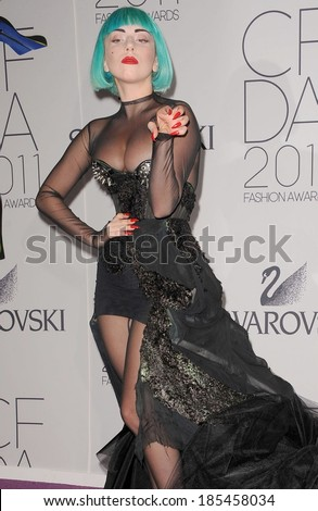 Lady Gaga at The 2011 CFDA Fashion Awards, Alice Tully Hall at Lincoln Center, New York, NY June 6, 2011 - stock photo