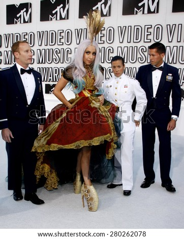 Lady Gaga at the 2010 MTV Video Music Awards held at the Nokia Theatre L.A. Live in Los Angeles on September 12, 2010.  - stock photo