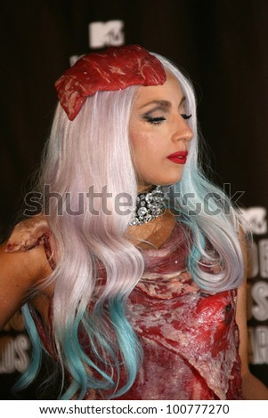 Lady GaGa at the 2010 MTV Video Music Awards Press Room, Nokia Theatre L.A. LIVE, Los Angeles, CA. 08-12-10 - stock photo