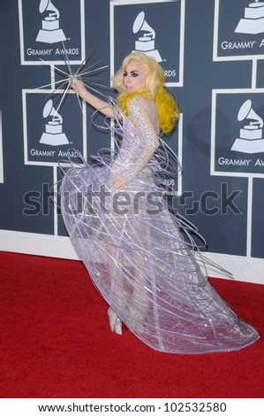 Lady Gaga at the 52nd Annual Grammy Awards - Arrivals, Staples Center, Los Angeles, CA. 01-31-10 - stock photo