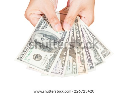 lady hand holding dollars banknote isolated on white background with clipping path - stock photo