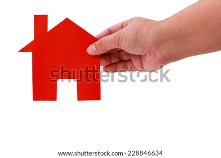 lady hand holding red home paper cut isolate on white clipping path