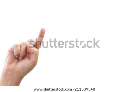 lady hand touching on the screen isolated on white clipping path