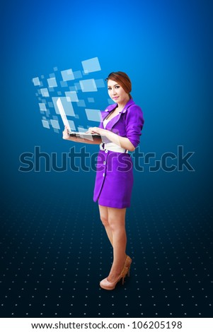 Lady hold notebook computer - stock photo