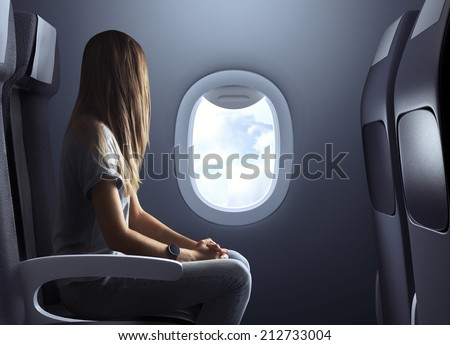 Lady in airplane