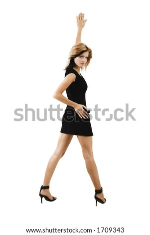 Lady in black over white background leaning at the wall - isolated on white - very high resolution - stock photo