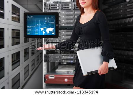 Lady in data center room and graph for monitor system - stock photo