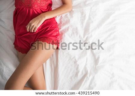 lady in elegant red lingerie - stock photo