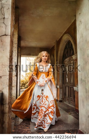 Lady in medieval costume - stock photo