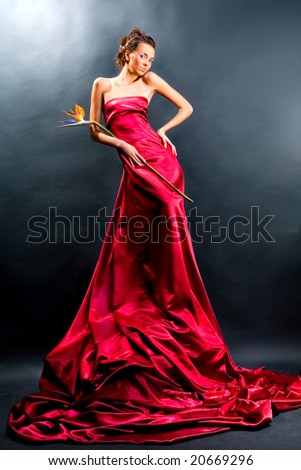 Lady in red dress - stock photo