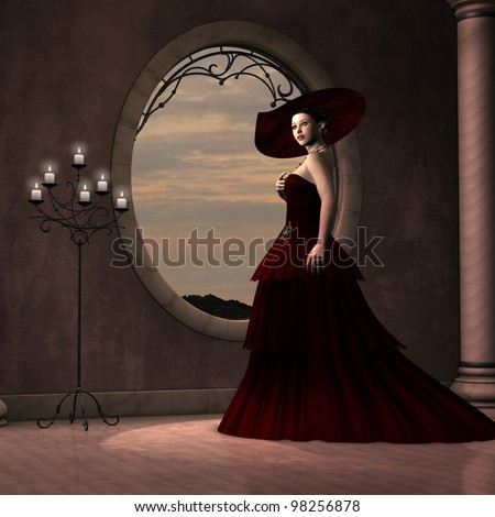 Lady in Red Dress - A beautiful woman in a red gown poses near a window of a pink marble room. - stock photo