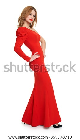 lady in red dress, white background - stock photo