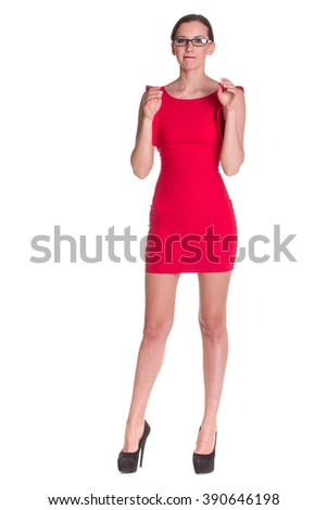 Lady in red posing with glasses, isolated on white
