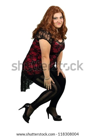 Lady in Red Wig Wearing Black Stockings isolated on white - stock photo