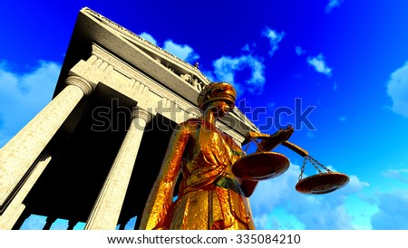 Lady Justice Sculpture of woman with sword and scale - stock photo
