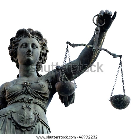 Lady Justice statue in Frankfurt. - stock photo