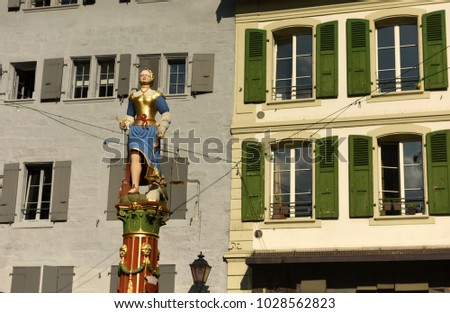 Lady Justice statue in Lausanne, Switzerland.