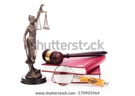 lady of justice and law books isolated on white - stock photo