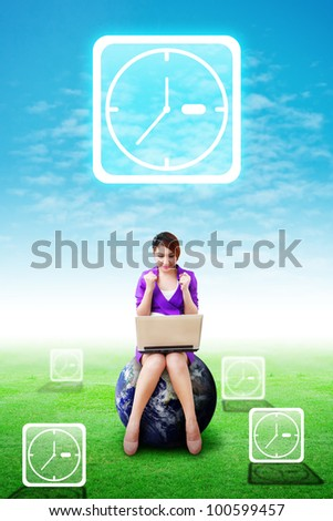 Lady on globe and Clock icons on the sky and grass field : Elements of this image furnished by NASA