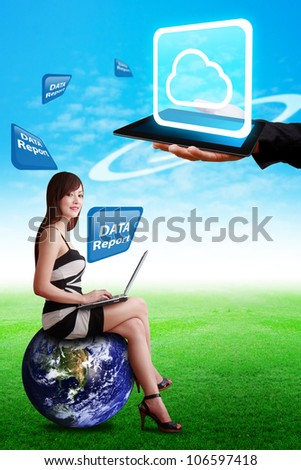 Lady on globe and Cloud computing on touch pad : Elements of this image furnished by NASA - stock photo