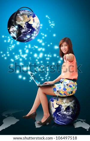 Lady on globe and communications world : Elements of this image furnished by NASA - stock photo