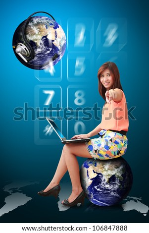 Lady on globe and communications world : Elements of this image furnished by NASA