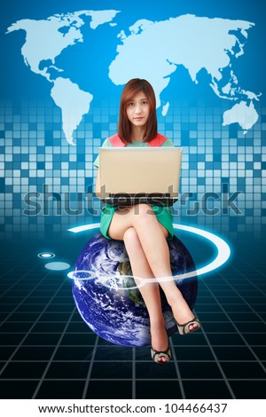 Lady on globe and digital world map background : Elements of this image furnished by NASA