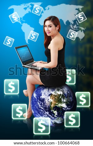 Lady on globe and money icon on World map for benefit : Elements of this image furnished by NASA - stock photo