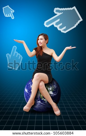 Lady on globe and pixel 's hand : Elements of this image furnished by NASA