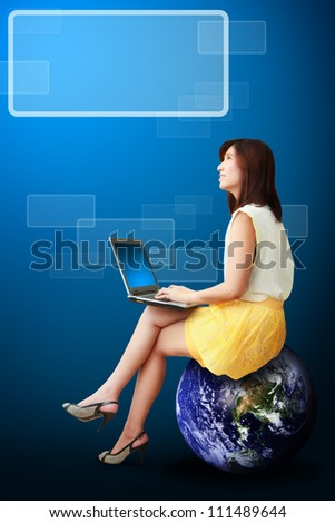 Lady on globe and window icon : Elements of this image furnished by NASA - stock photo