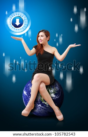 Lady on globe hold Download icon : Elements of this image furnished by NASA