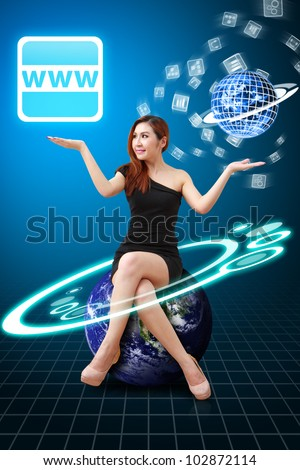 Lady on globe hold the WWW icon : Elements of this image furnished by NASA